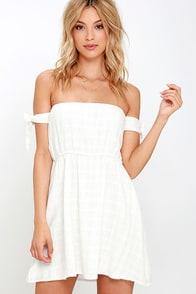 Sip on Sunshine Ivory Off-the-Shoulder Dress