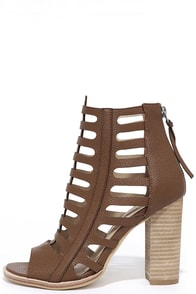 image Sincerely Chic Brown Caged Peep-Toe Booties