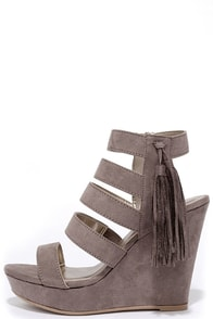 From a Distance Taupe Suede Platform Wedges