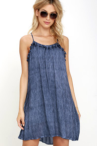 image Right Place, Right Time Navy Blue Print Dress