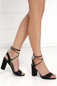 image Watch Me Wow Black Lace-Up Heels