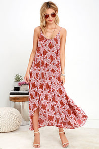 image Pondering Petals Rust Red Print Midi Dress