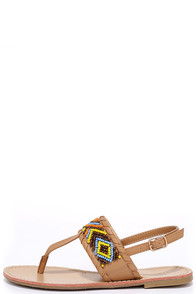image Into the Wild Light Tan Beaded Thong Sandals