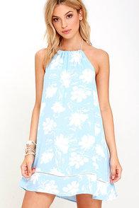 image Honolua Bay Light Blue Floral Print Halter Dress