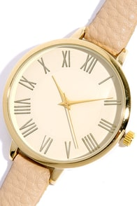Time Can Tell Gold and Beige Leather Watch