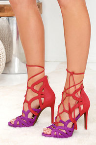 Jessica Simpson Racine Orchid Color Block Lace-Up Heels