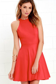 Delightful Surprise Red Skater Dress