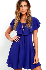 image Tenderly Tangled Royal Blue Lace-Up Dress