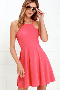 image Call to Charms Coral Pink Skater Dress
