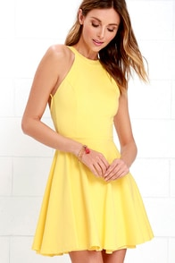 Delightful Surprise Yellow Skater Dress
