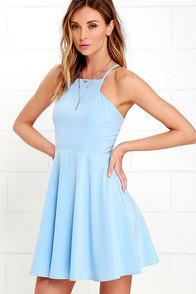 Call to Charms Light Blue Skater Dress at Lulus.com!