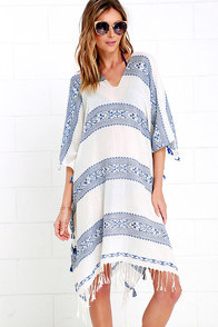 image Swift Movements Blue and Ivory Kaftan Cover-Up
