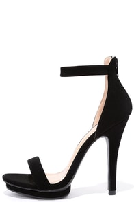 Suede Away Black Nubuck Platform High Heel Sandals