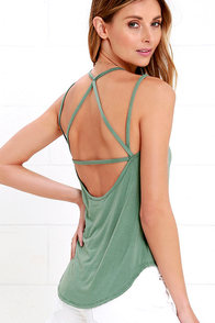 image What's Strap-pening? Sage Green Tank Top