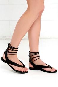 image Hidden Altar Black Lace-Up Thong Sandals