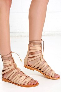 image MTNG 94439 Vaqueta Nude Leather Gladiator Sandals
