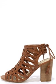 Sbicca Geovana Cognac Leather High Heel Sandals