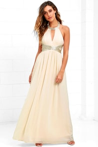 image Days Gown By Cream Beaded Maxi Dress