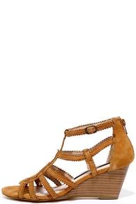 Kensie Sisha Cognac Suede Leather Wedge Sandals