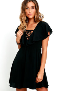 image Tenderly Tangled Black Lace-Up Dress