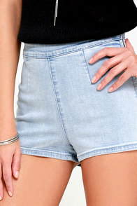 image Amuse Society Vice Light Wash High-Waisted Denim Shorts