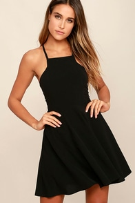 Call to Charms Black Skater Dress