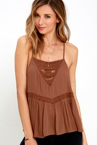 Amuse Society Eden Brown Lace Top at Lulus.com!