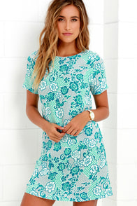 Lucy Love Charlotte Turquoise Print Shift Dress