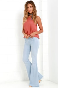 Blank NYC Light Blue Chambray Flare Pants