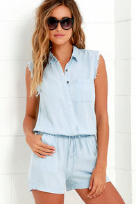image Wild Woman Light Blue Chambray Romper