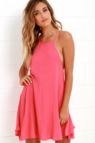 image Mink Pink Wonder Why Coral Pink Swing Dress