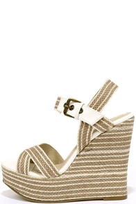 MIA Francis White Natural Rope Platform Wedges