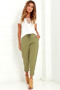 Black Swan Vedette Olive Green Pants