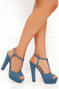 Go With the Throwback Denim Blue T-Strap Platform Sandals $37.00 AT vintagedancer.com