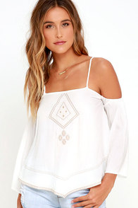 Morning Perk Ivory Embroidered Top at Lulus.com!