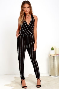 Bold School Black and White Striped Jumpsuit