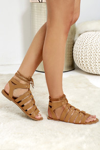 Outlying Lands Camel Lace-Up Flat Sandals
