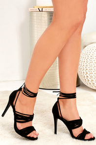 Image Fashionista Black Suede Lace-Up Heels