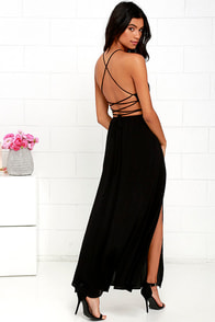 Heart's Desire Black Lace-Up Maxi Dress