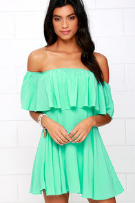 Young and in Love Mint Green Off-the-Shoulder Dress at Lulus.com!