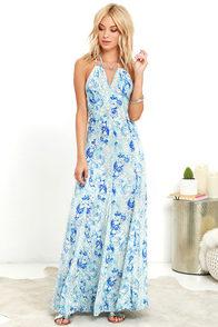 Stunning Cyclone Blue Print Maxi Dress