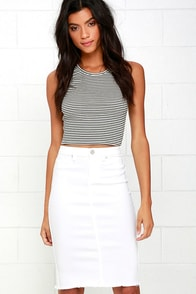 image Blank NYC Faithful White Denim Pencil Skirt