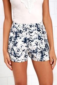 image Olive & Oak Freshwater Spring Navy Blue Print Shorts