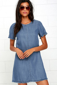 image Olive & Oak At Every Turn Blue Chambray Shift Dress