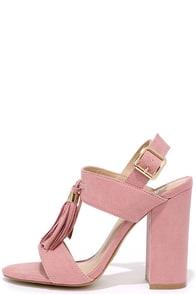Natural Performer Mauve Pink Suede Tassel Heels Image