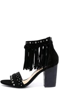 Sbicca Palooza Black Suede Leather Fringe Heels