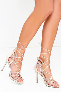 Betsey Johnson Celia Blush Rhinestone Dress Sandals