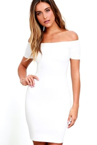 Me Oh My White Off-the-Shoulder Bodycon Dress