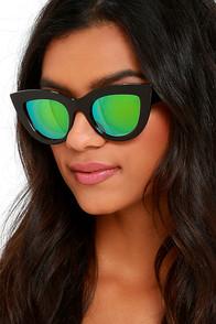 image Vivid Vision Black Mirrored Cat-Eye Sunglasses