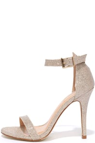 Beauty Approaches Champagne Glitter Ankle Strap Heels